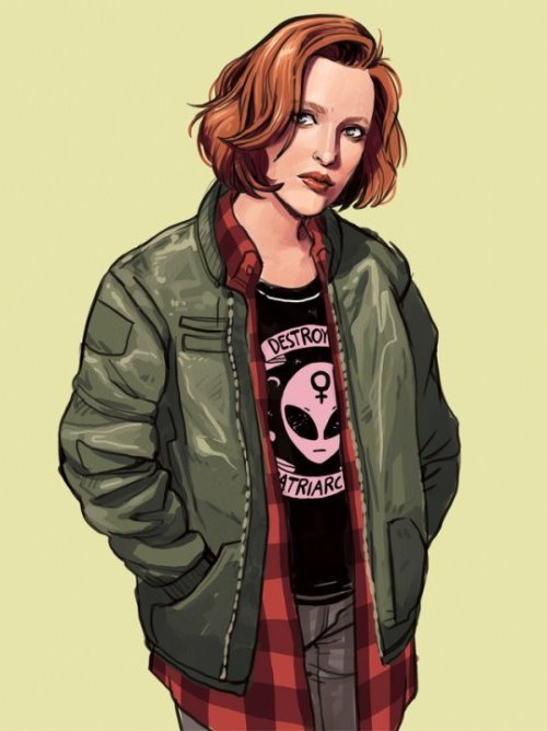 """Fan art of Scully from  The X-files  as a grunge teen, wearing a green military jacket, red flannel, and a black t-shirt bearing, in pink, the design of an alien with a female symbol on its forehead and the words """"Destroy Patriarchy."""""""