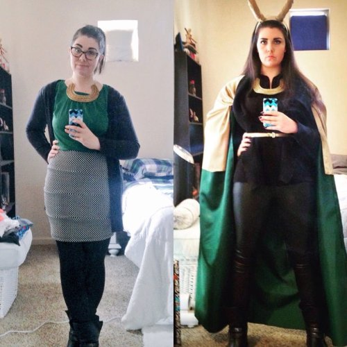Two images of SheneeRachelle, cosplaying Loki. On the left, she wears glasses and a business-appropriate outfit in Loki's colors and featuring a cape-like cardigan, with a statement necklace in the shape of a golden torque. On the right, she wears full cosplay, using the same golden torque but now wearing horns and a gold-and-green cape.