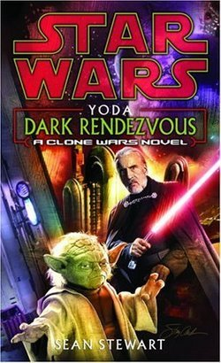 The cover to the novel  Yoda: Dark Rendezvous , featuring Yoda and Count Dooku.