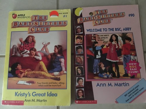 A photograph of The Baby-Sitters Club #1,  Kristy's Great Idea,  and The Baby-Sitters Club #9,  Welcome to the BSC, Abby .