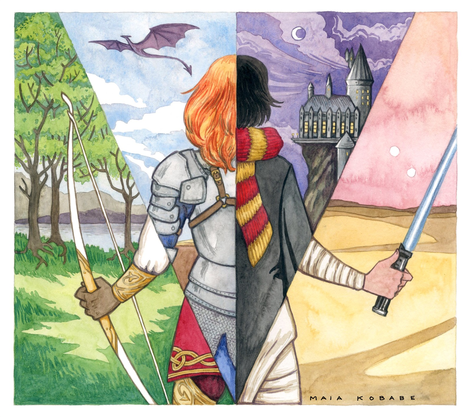 An image of a young woman, seen from behind, as if through a prism, showing multiple versions: as a Celtic warrior holding a bow, in a forest, a knight in armor with a dragon flying overhead, a Hogwarts student looking at the castle, and a Jedi in the desert wielding a lightsaber.  Image credit:   Maia Kobabe