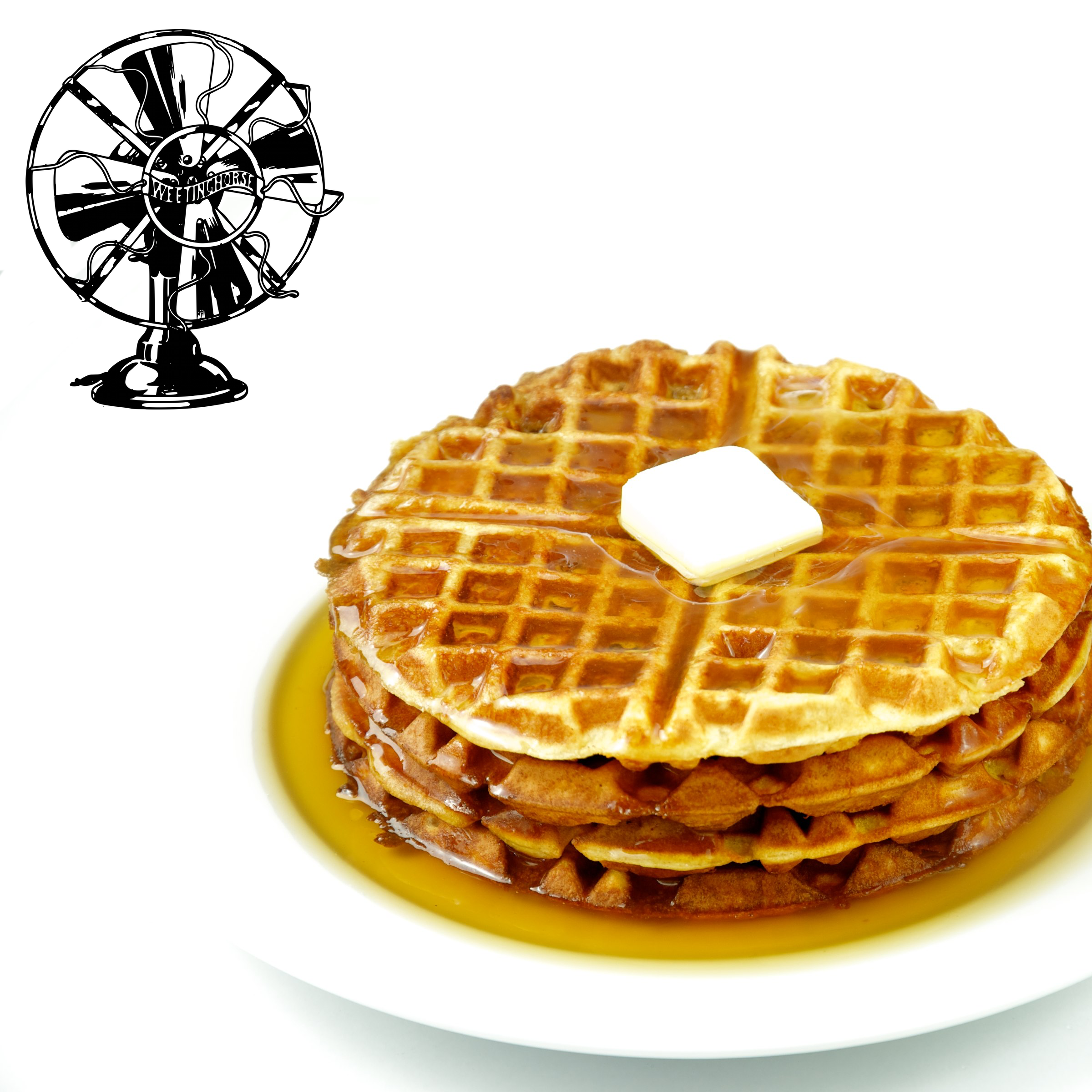 Episode 9's cover: a stack of waffles with butter and syrup.