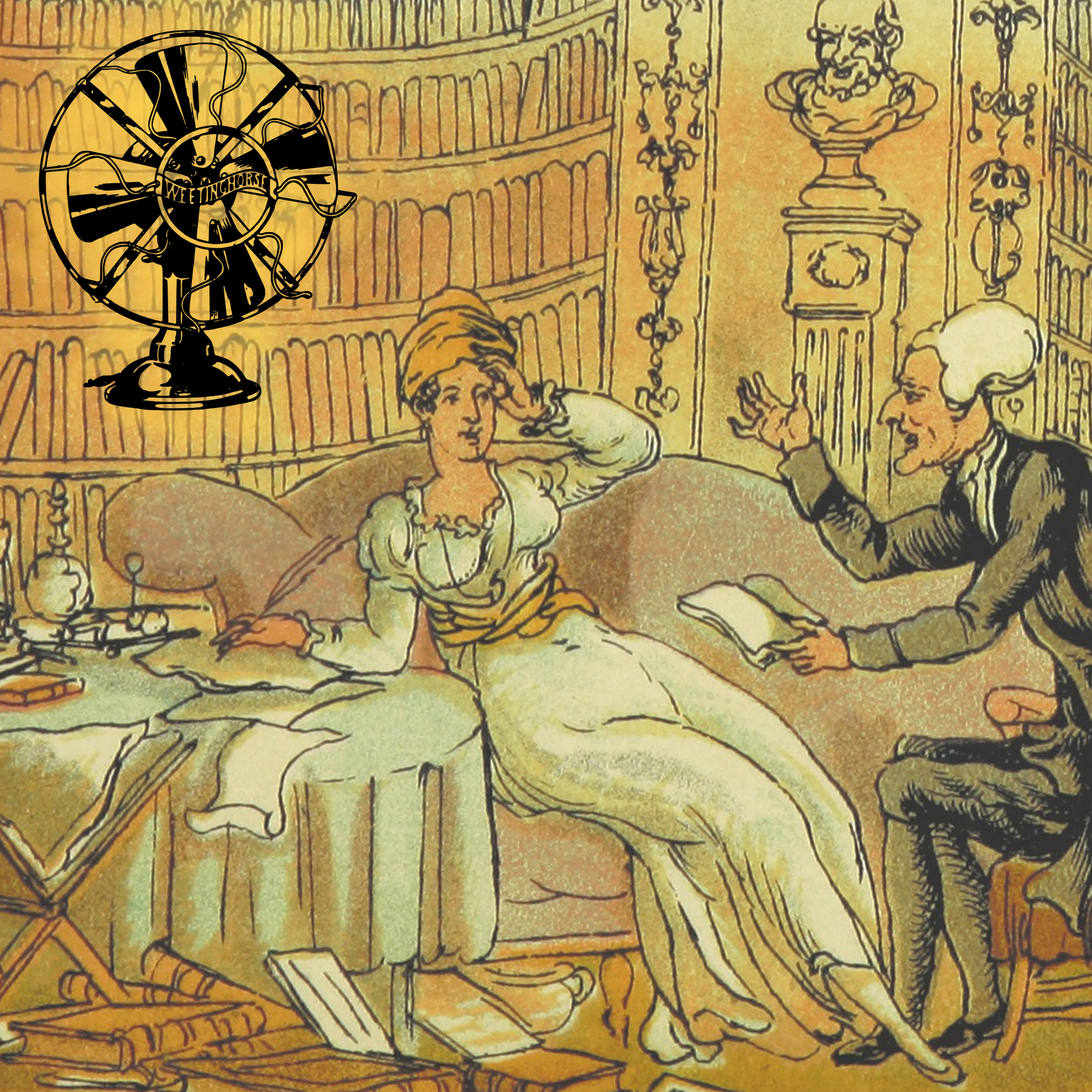 Episode 10's cover: an old illustration of a woman writing and appearing to swoon into a sofa as a man apparently confronts her about what she has written.