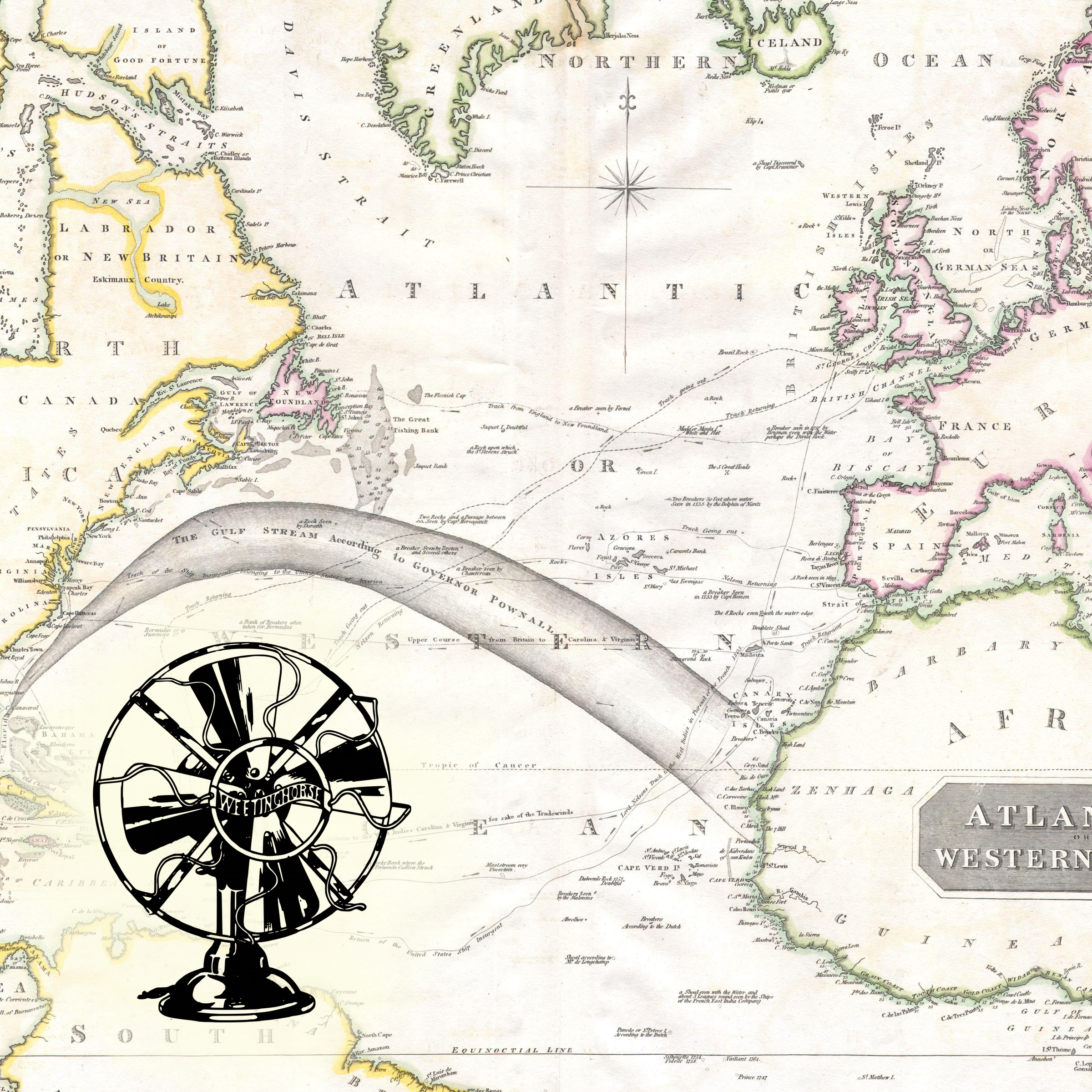 Episode 11's cover: an old map of the Atlantic Ocean.
