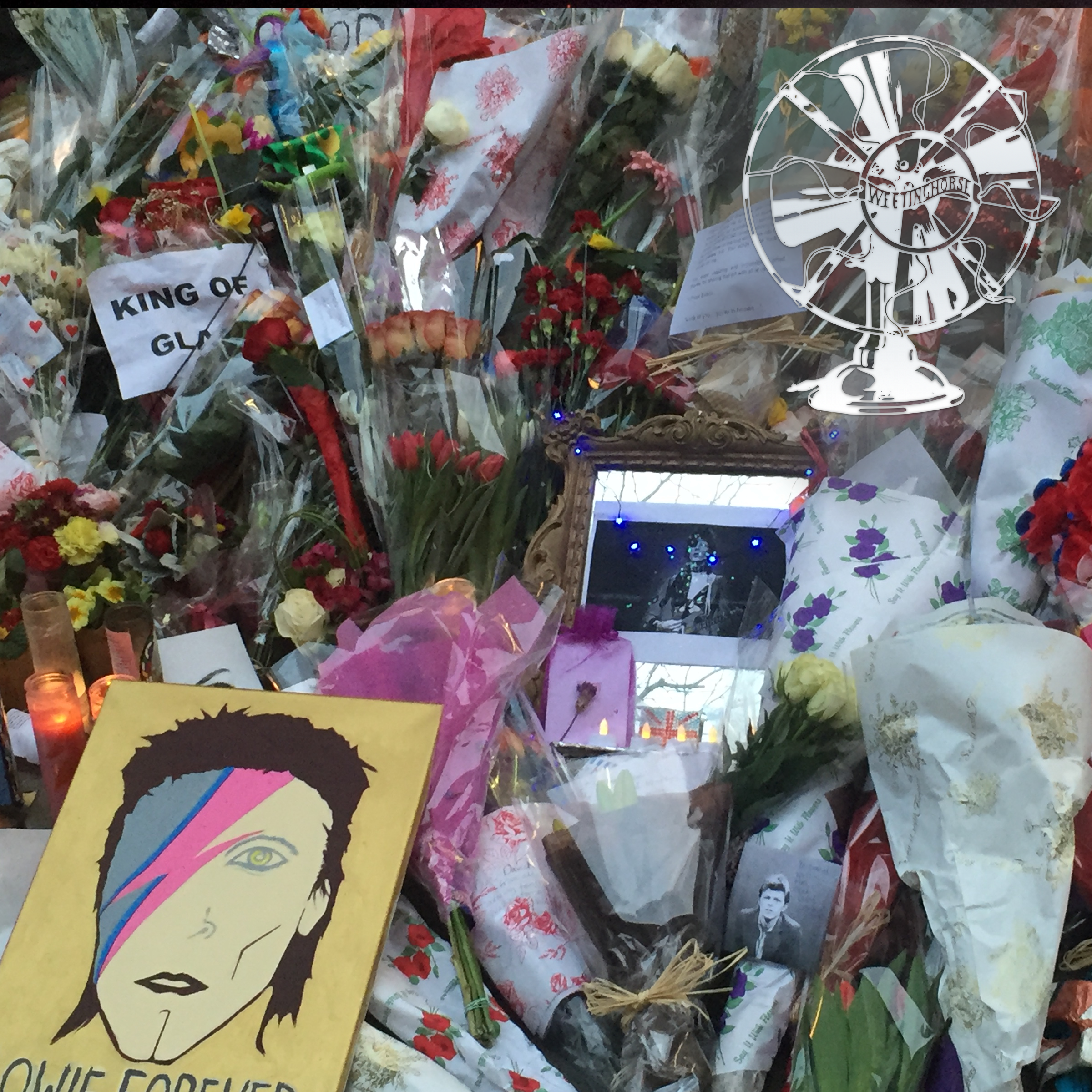 Episode 14's cover: flowers and gifts piled in memory of David Bowie.