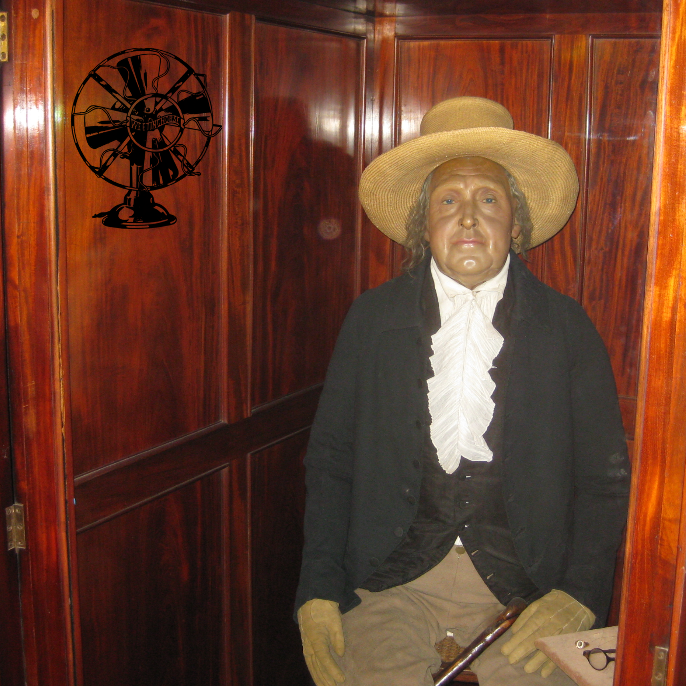 Episode 19's cover: Jeremy Bentham's preserved body, as displayed at University College London.