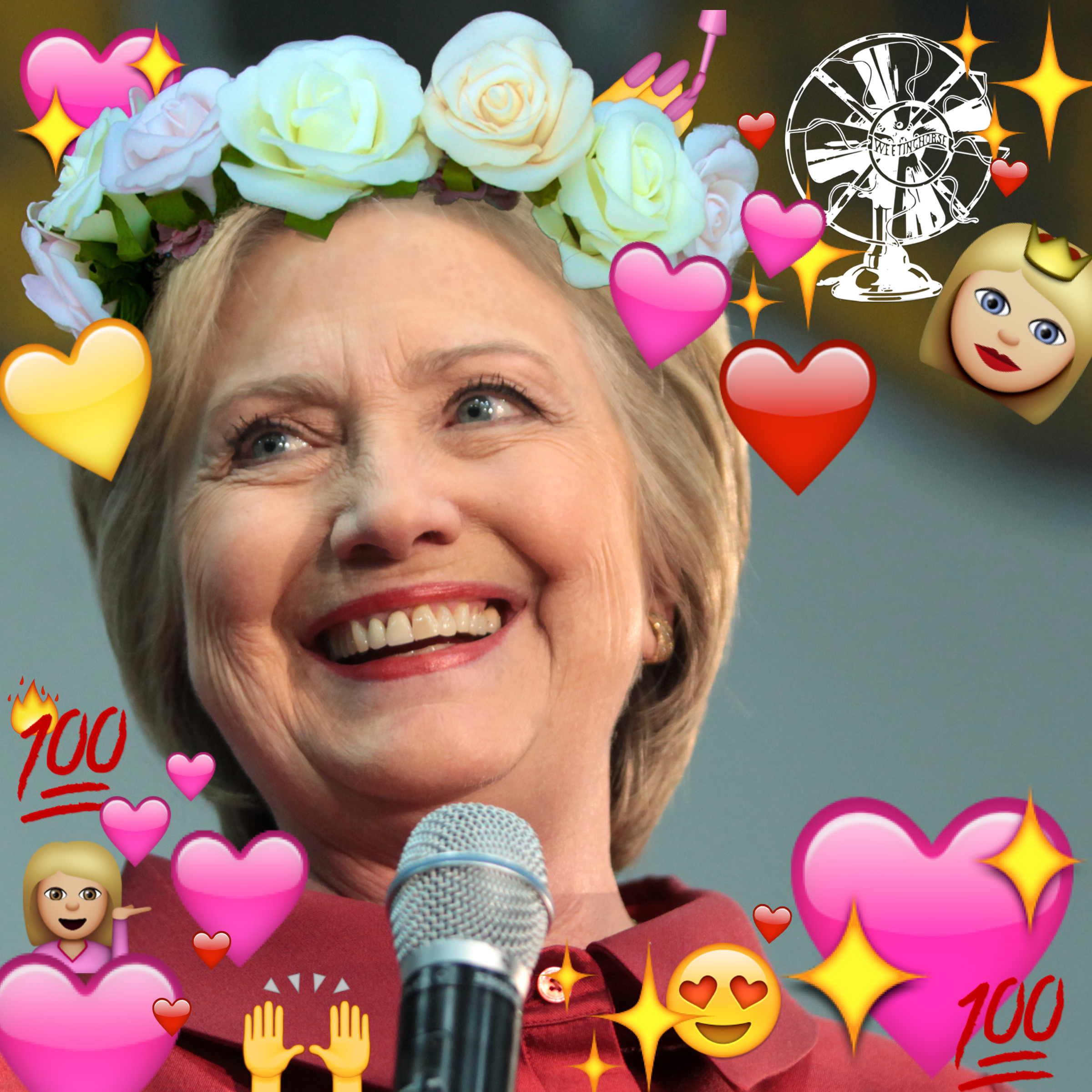 Episode 32's cover: Hillary Clinton, photoshopped so that she is surrounded by positive emoji and wearing a flower crown.