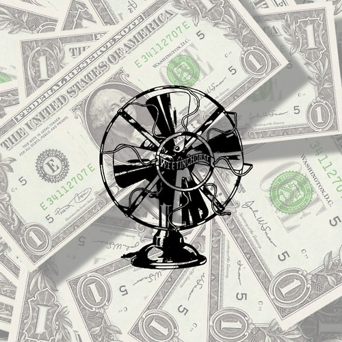 Episode 65's cover: the fan logo superimposed over a pile of money.