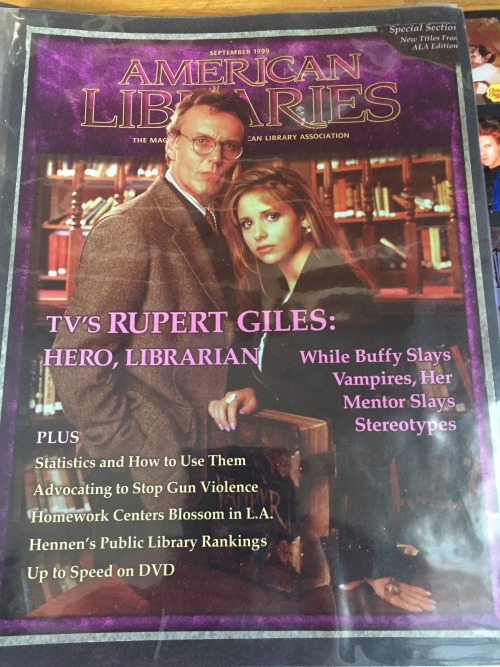 A cover of  American Libraries  magazine, with Giles and Buffy in a library.