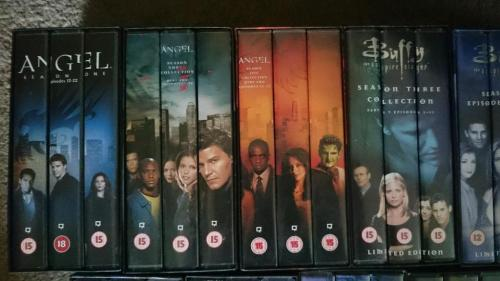 A row of Buffy and Angel VHS cases.
