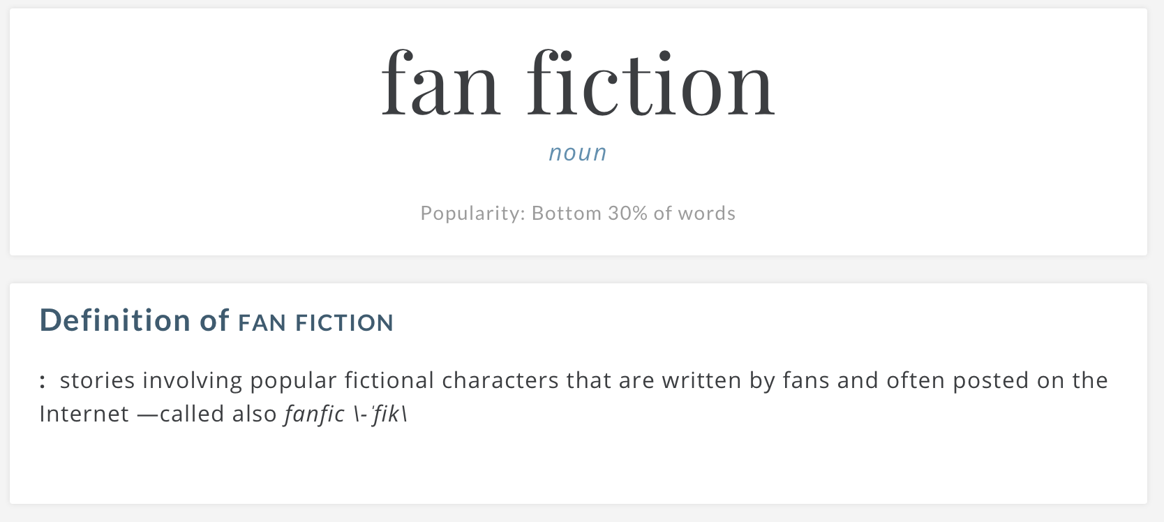 "The Merriam-Webster definition of ""fanfiction,"" spelled ""fan fiction,"" with a space."
