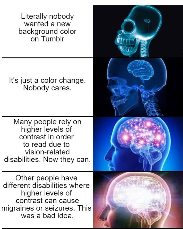 Galaxy brain meme with a series of images.  Caption 1: Literally nobody wanted a new background color on Tumblr.  Caption 2: It's just a color change. Nobody cares.  Caption 3: Many people rely on higher levels of contrast in order to read due to vision-related disabilities. Now they can.  Caption 4: Other people have different disabilities where higher levels of contrast can cause migraines or seizures. This was a bad idea.