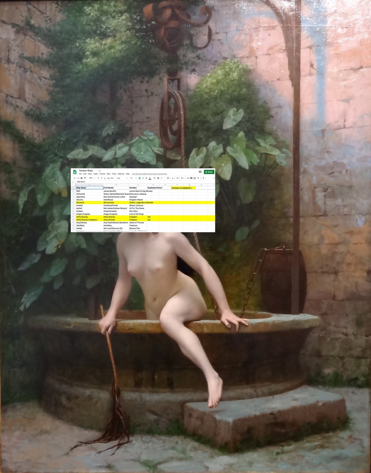 "A manip of "" Truth coming from the well armed with her whip to chastise mankind "" by Jean-Léon Gérôme: A naked woman crawls out of a well, flogger in hand, her head replaced by a screencap of a google sheet titled Fandom Ships. Manip by Coggs."
