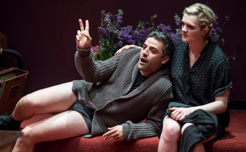 An image of Oscar Isaac, as Hamlet, in his underwear.
