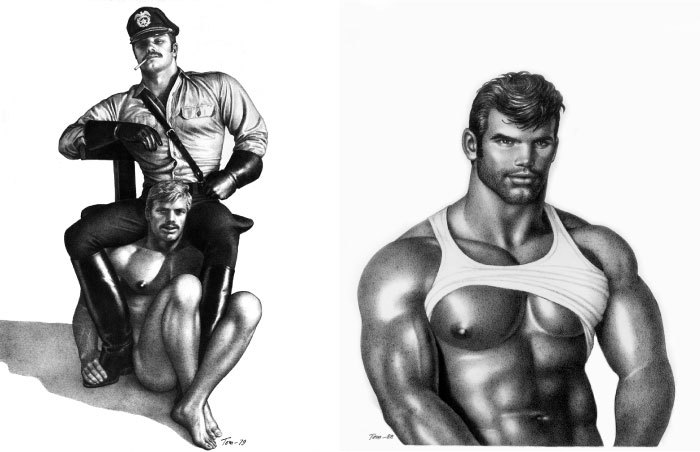 Two instances of Tom of Finland art—super masc gay men being super masc and naked.