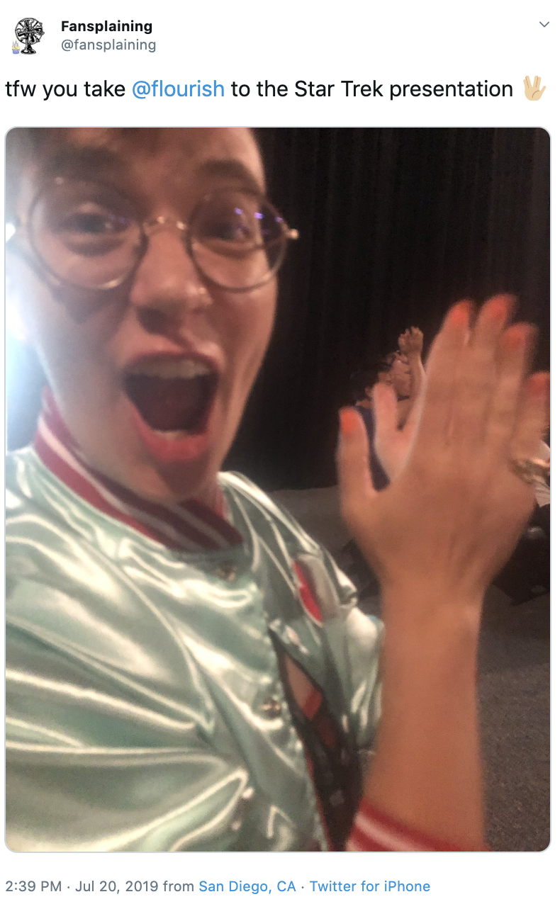 """A tweet reading """"tfw you take @flourish to the Star Trek presentation 🖖🏻"""" with a photograph of Flourish ecstatically clapping."""