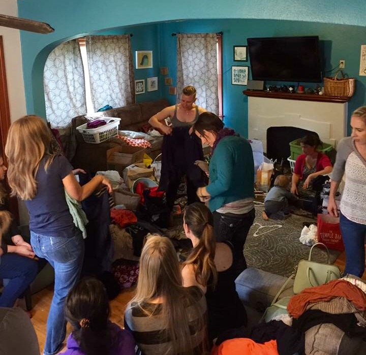 Some of the chaos of the clothing exchange...