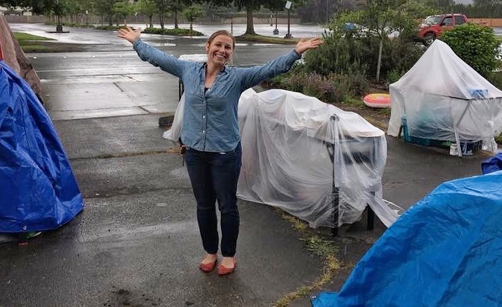 Soaking wet, but not washed up! Comfortable clothes and a carefree approach to rain made the weekend a lot more fun.