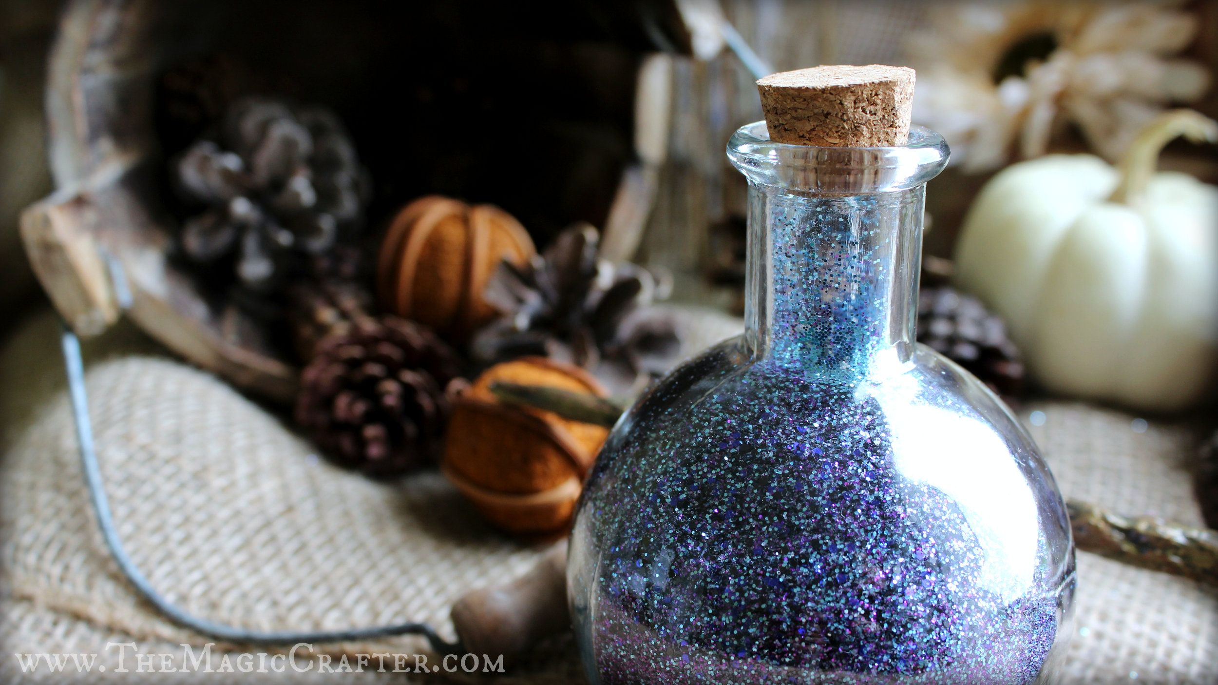 Magic potions make great props to use for decorating your home for Halloween. Whether you choose to scatter the fairydust or not is up to you!