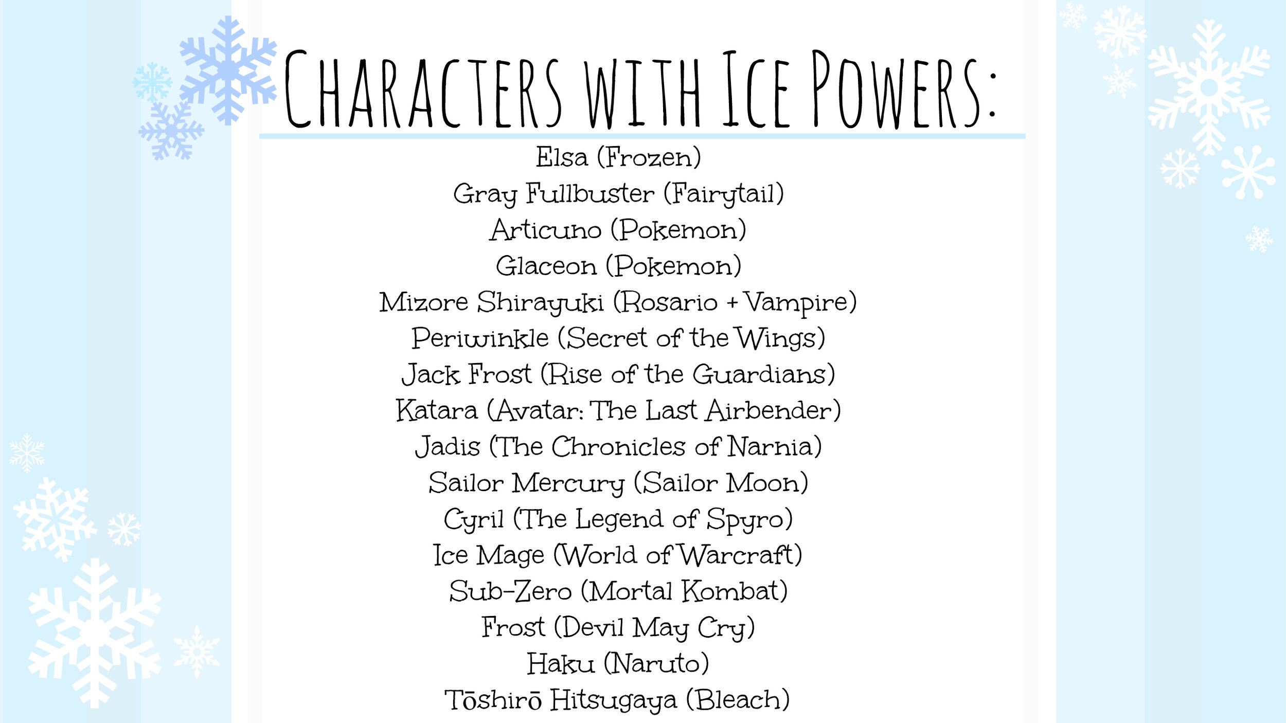 While I know I'm missing a few, here is a list of some characters who have ice powers and control over the Winter Elements.