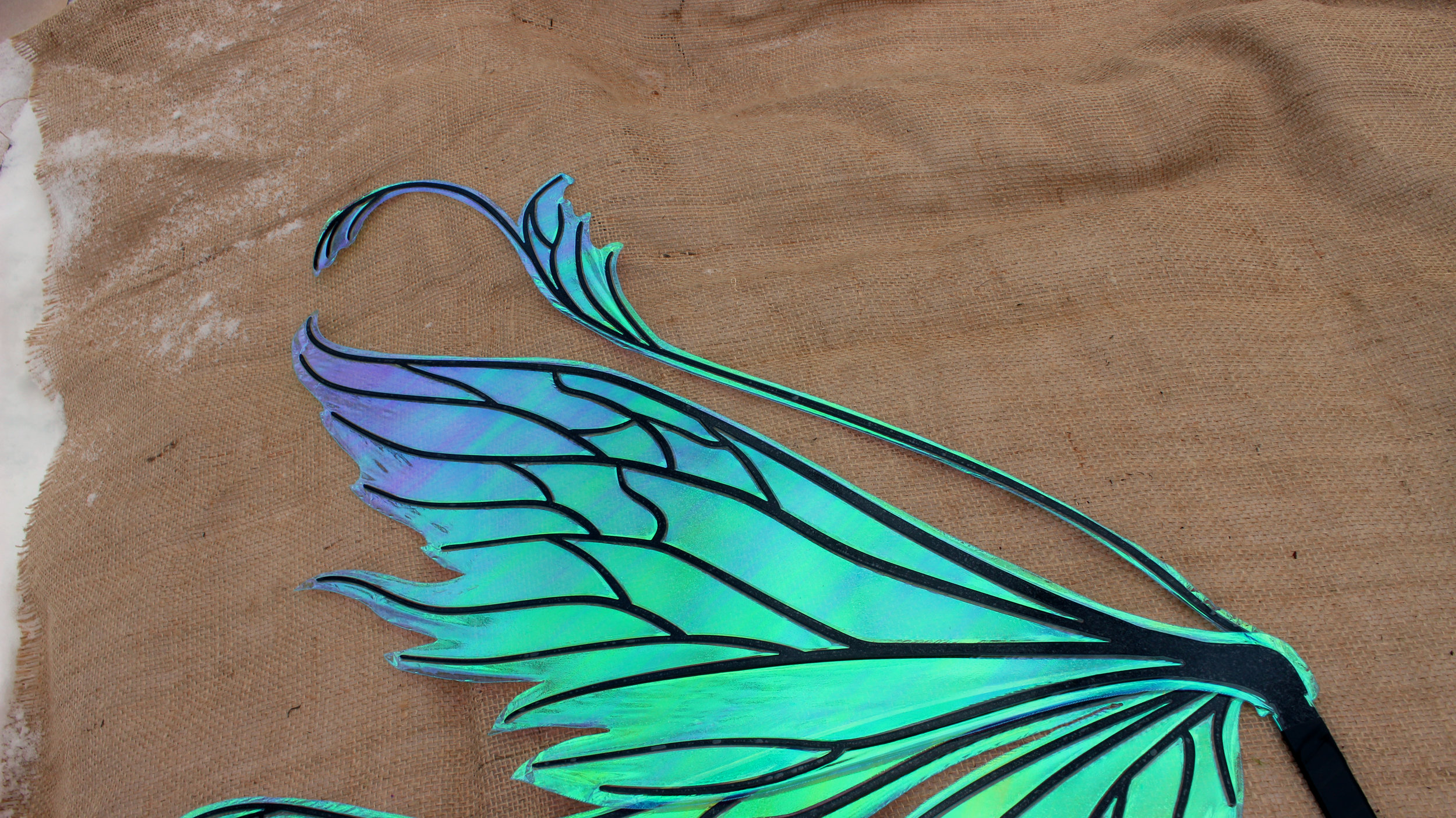 Realistic Fairy Wings by Fancy Fairy Wings and Things- Vivienne Fairy Wings with Black Veins and Aquamarine Cellophane