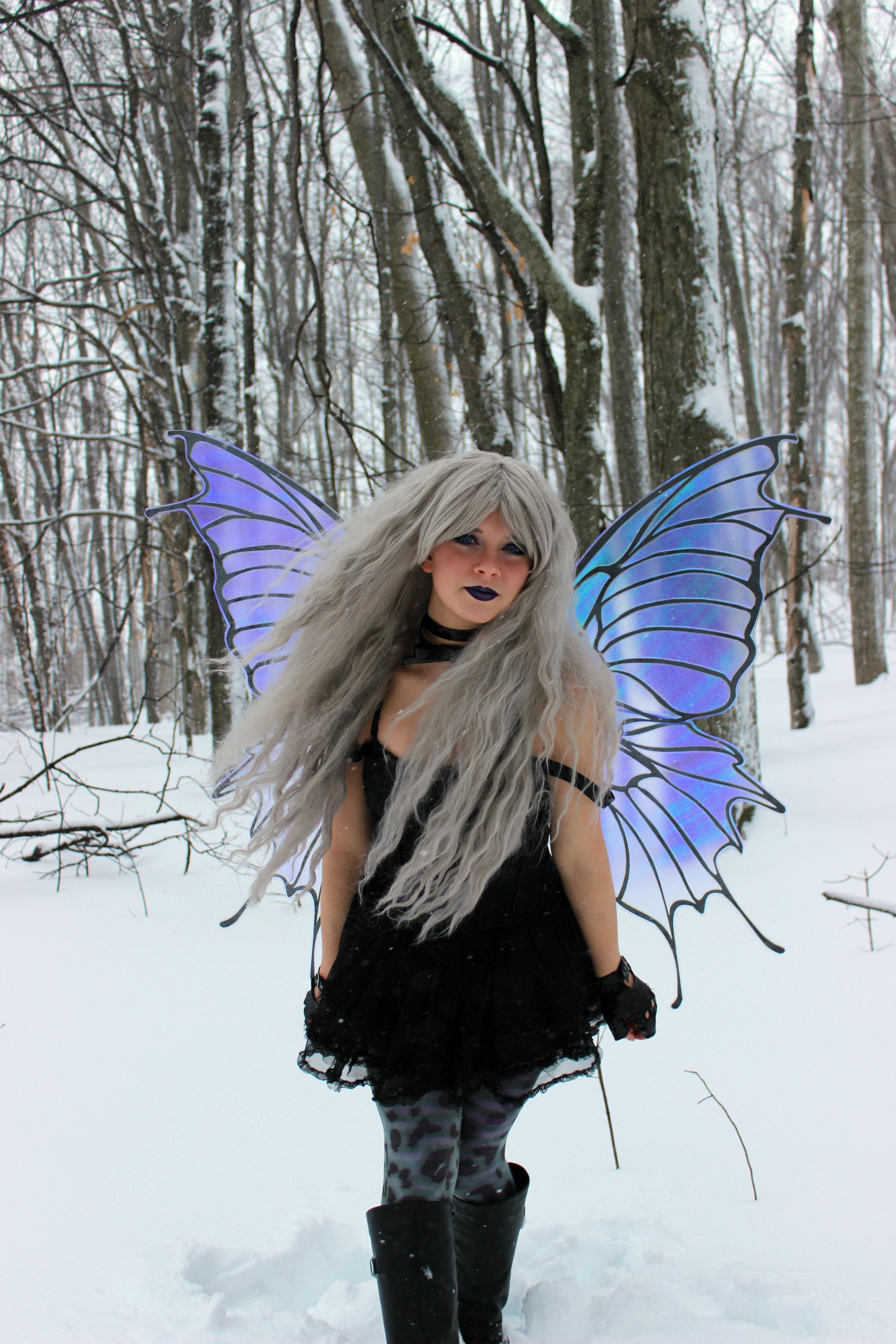 The Magic Crafter wearing her NEW Daydream Butterfly Fairy Cosplay wings by Hello Faerie. These enormous wings have transformed Mermaid Phantom into a Gothic Pixie. Don't they look amazingly real!?!!?