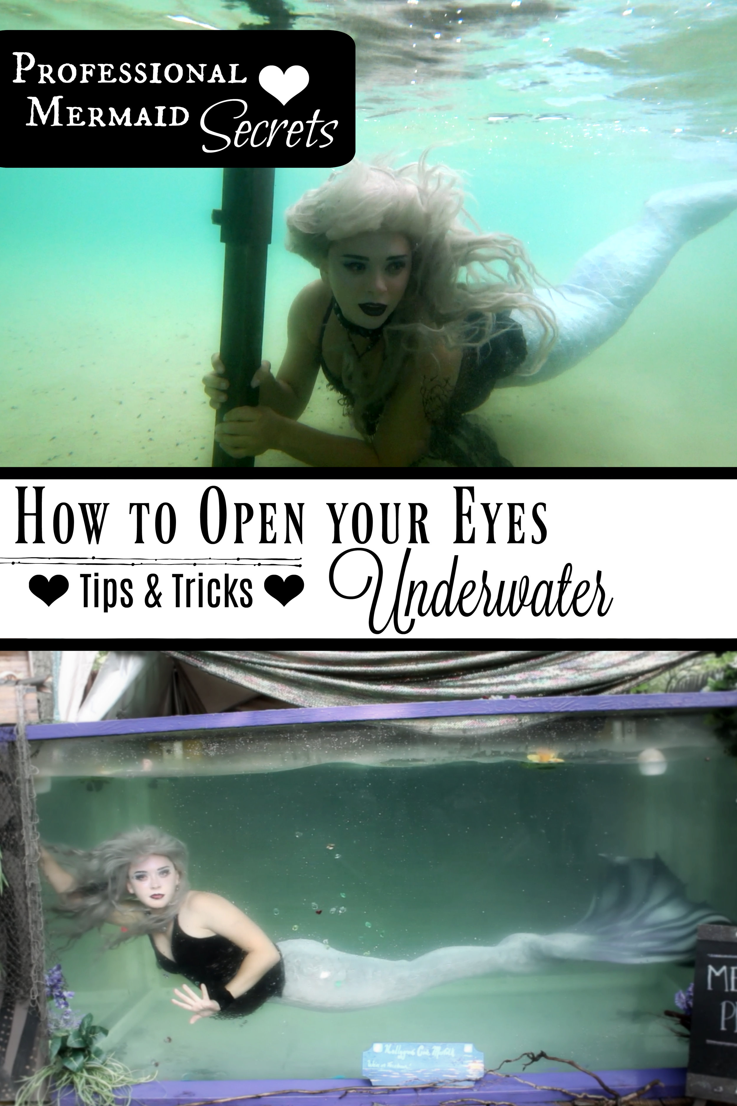 How to Open your Eyes Underwater like a Professional Mermaid- Tips & Tricks for Reducing Burning and Irritation after a swim in the pool, lake or ocean. Find the BEST eye drops, ointments, gels, supplements AND lifestyle changes to help keep you eyes happy! ♥ Watch the video AND read the blog post for more info. Click to read!