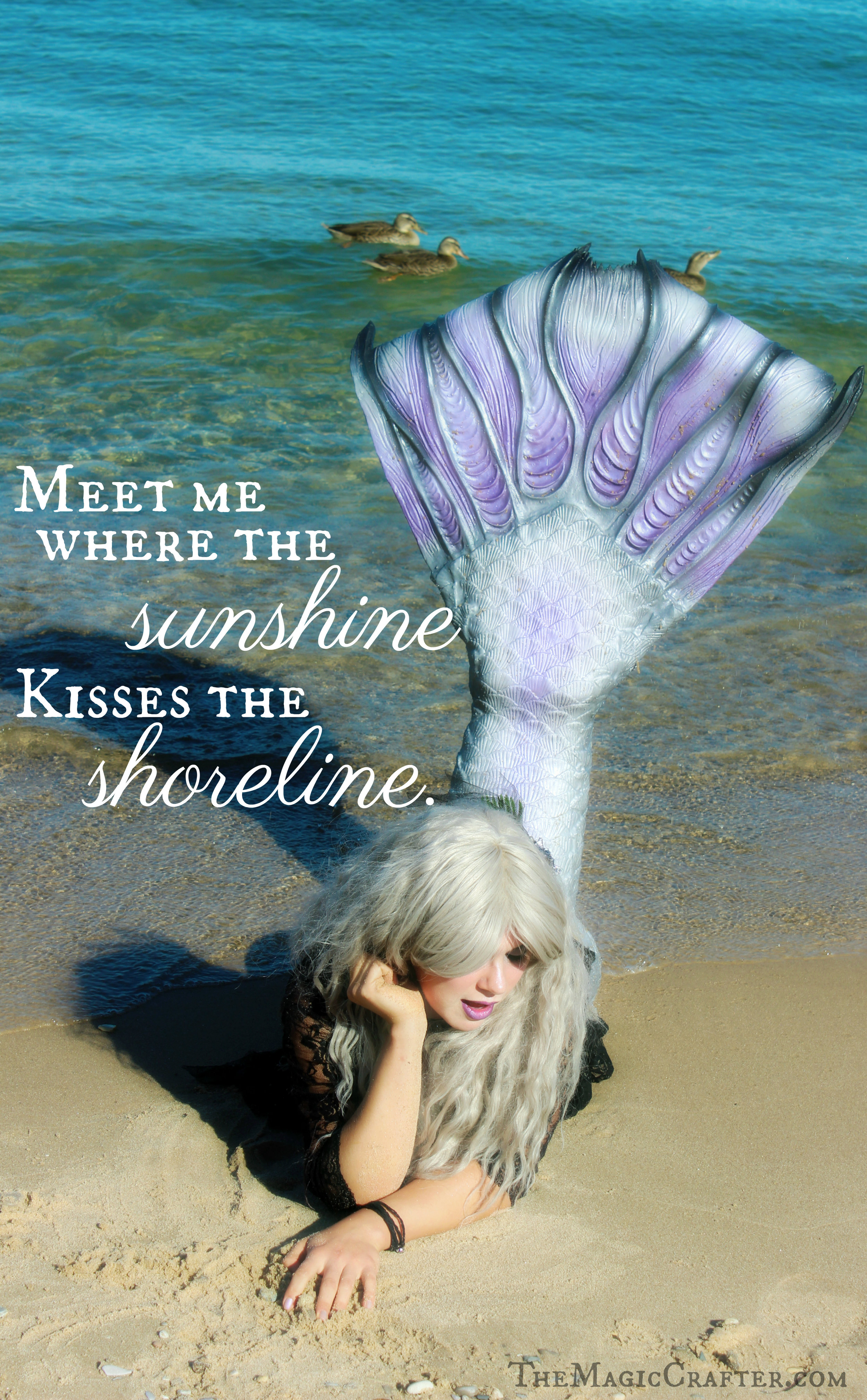 """Meet me where the Sunshine kisses the Shoreline""  -Quote by Mermaid Phantom ♥ Click here to read her Magical Mermaid Blog & to see underwater mermaiding videos! ♥ #mermaids #quotes"