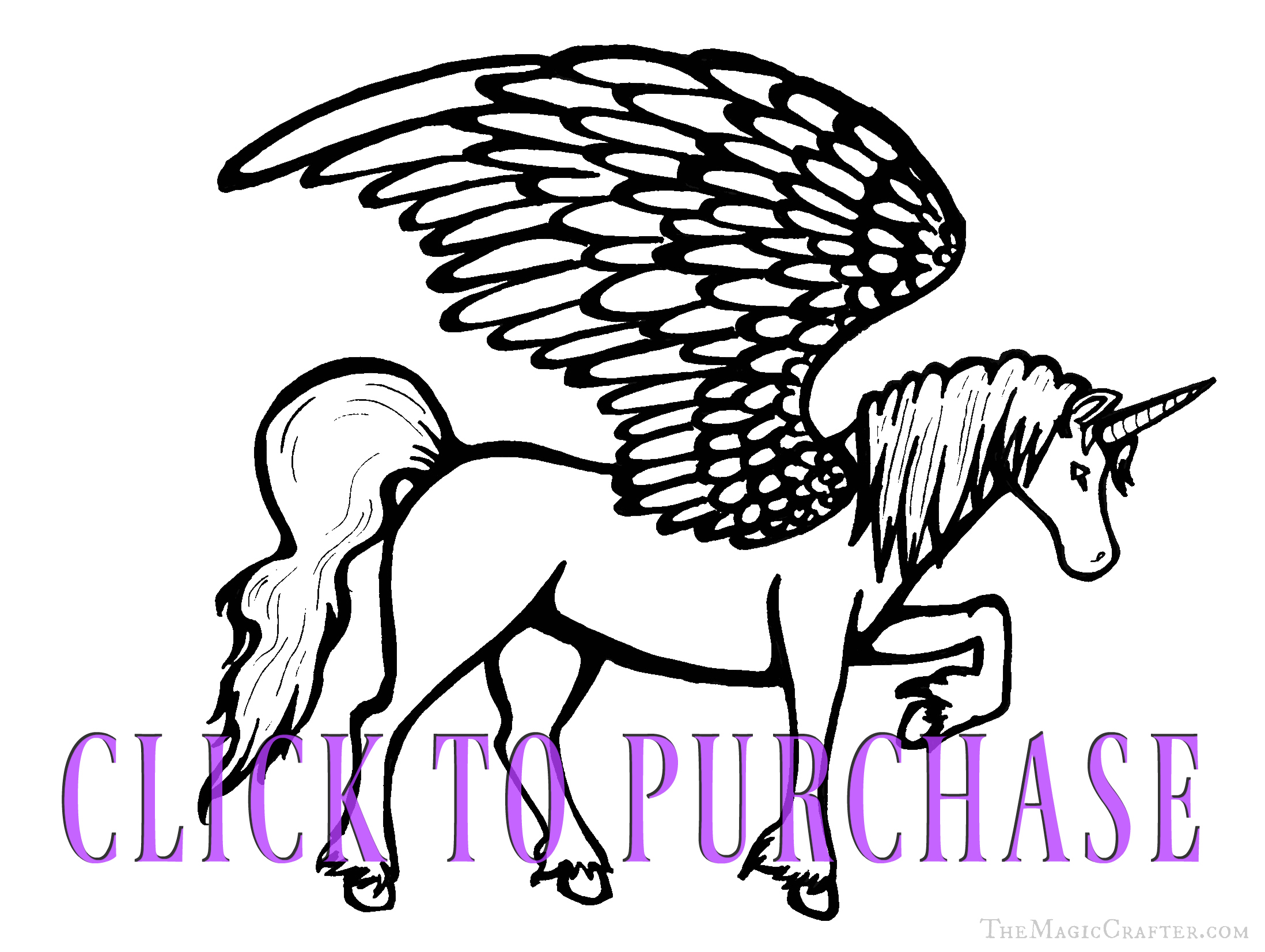 Unicorn Coloring Pages! Download a Unicorn Coloring Page from The Magic Crafter on Etsy! Click on this image to buy this printable coloring sheet.