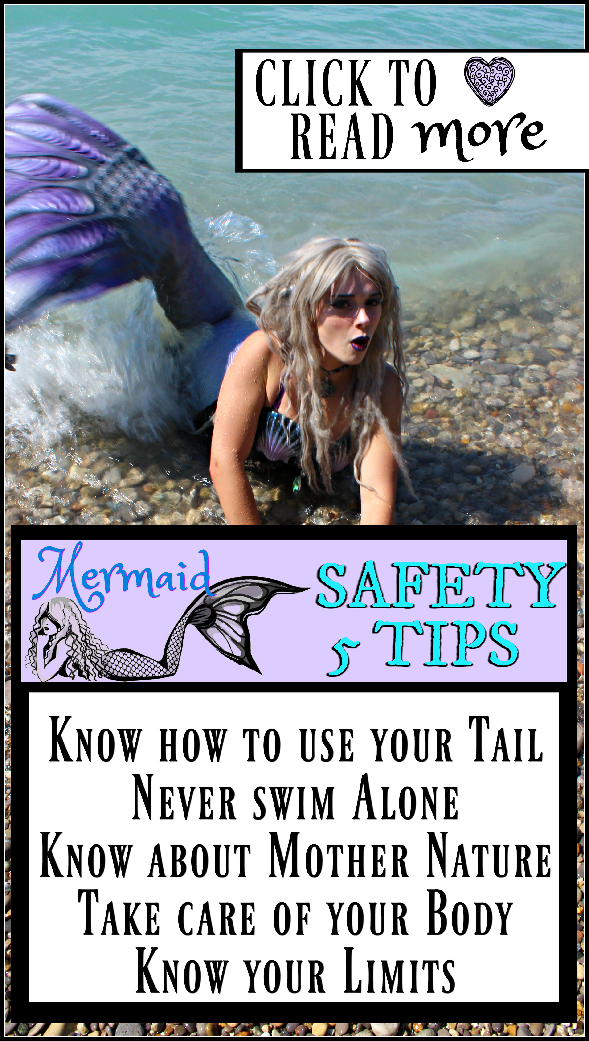 Mermaid Tail Swimming Safety ♥ How to safely swim in a mermaid tail. Learn 5 tips to keep you healthy and safe on your adventures as a mermaid! There is more to swimming safety than JUST knowing how to swim!