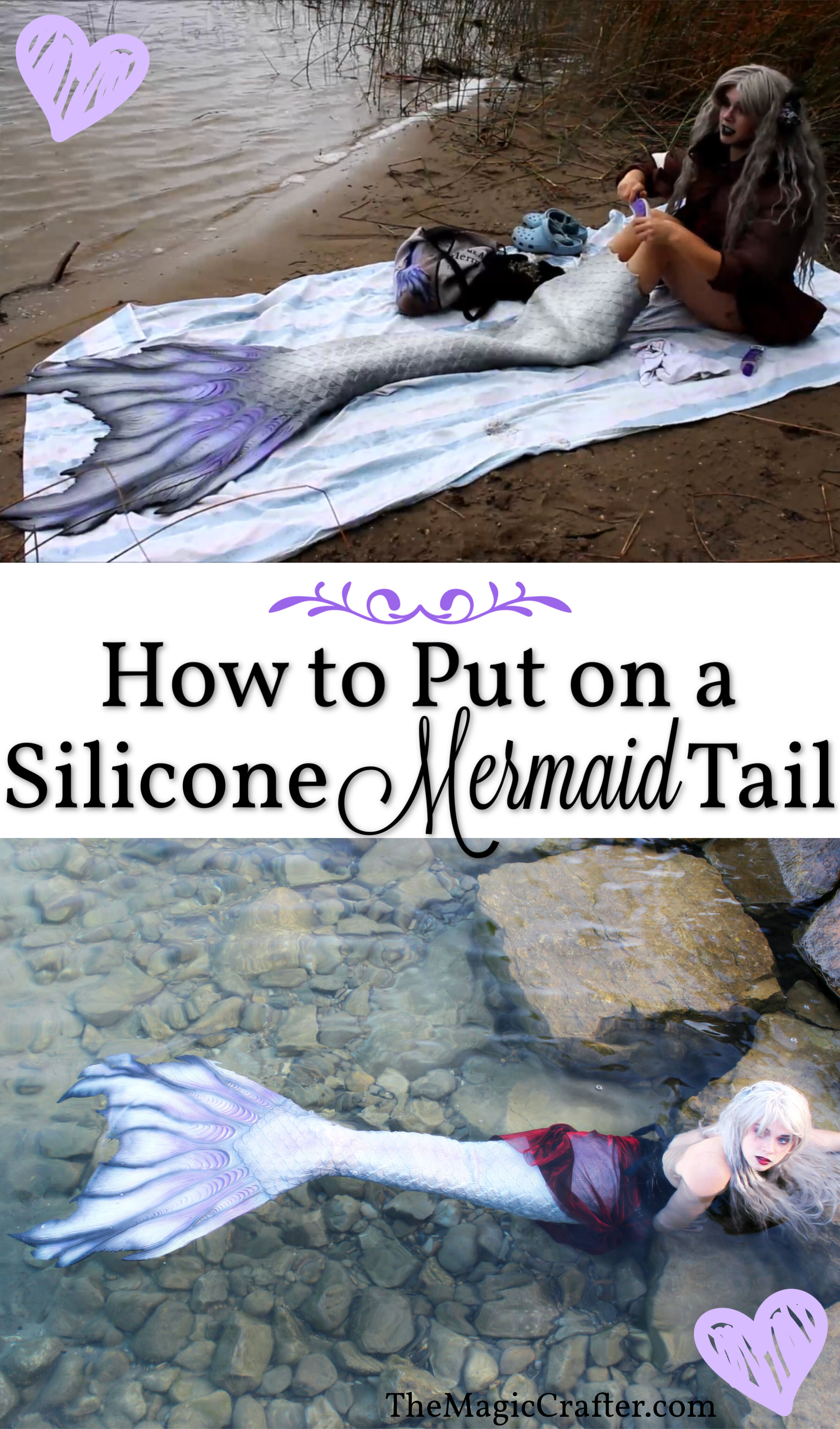 How to put on a silicone mermaid tail - How to put on a silicone mermaid tail in 5 minutes or less! This is the EASIEST way to put on a silicone mermaid tail. If you are a professional mermaid or aspiring professional mermaid and you want to know all of the tips and tricks of the mermaiding trade, then The Magic Crafter blog is the perfect place to be! ♥
