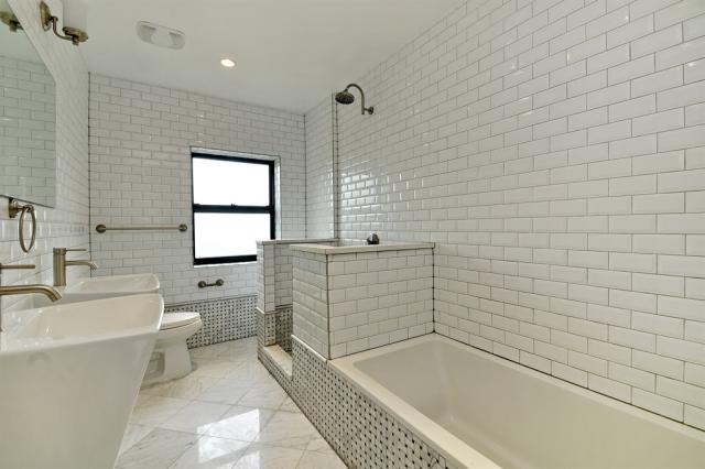 Spotless, Well-Lit Bathroom