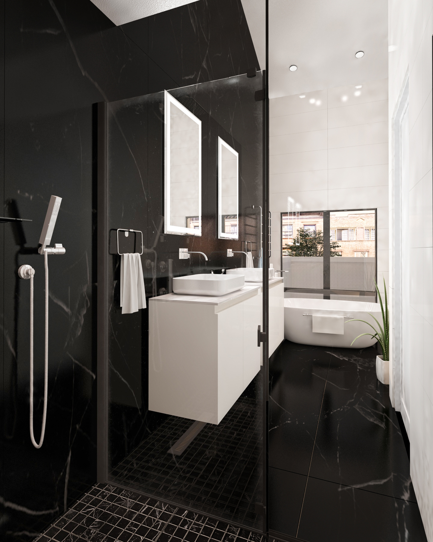 Large Bathroom with Trendy Design