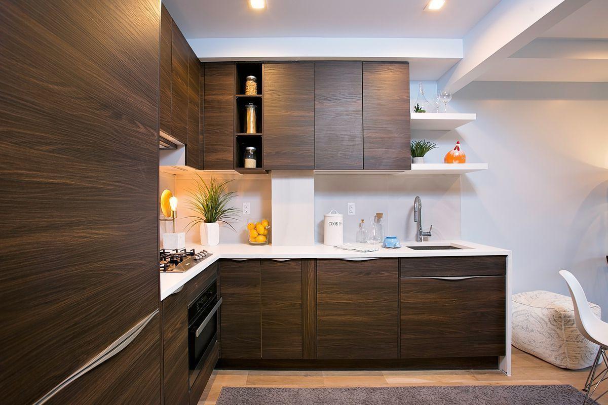 Hardwood Floors and Dark Wood Cabinets