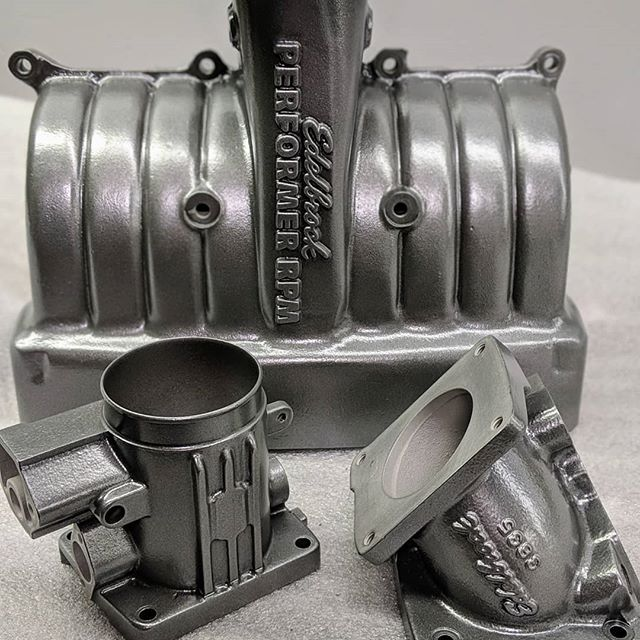 Check out this powder coated #5point0 @edelbrockusa #performer intake manifold. #mustang #edelbrock #powdercoating #rockford #performance #foxbody