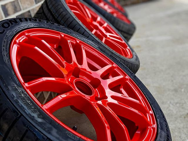 Some @enkeiwheels powder coated, mounted & balanced, and ready for pickup. Oh ya, we mount and balance tires now! #enkei #continental #tires #fullservice #powdercoating #rockford #onestopshop