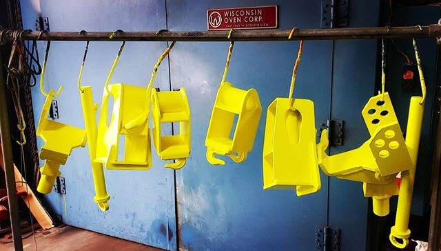 These #towtruck parts will be easy to see now that they are powder coated in #neonyellow  And the zinc-rich primer underneath will help keep them looking great for years! #powdercoatedtough #neon #yellow