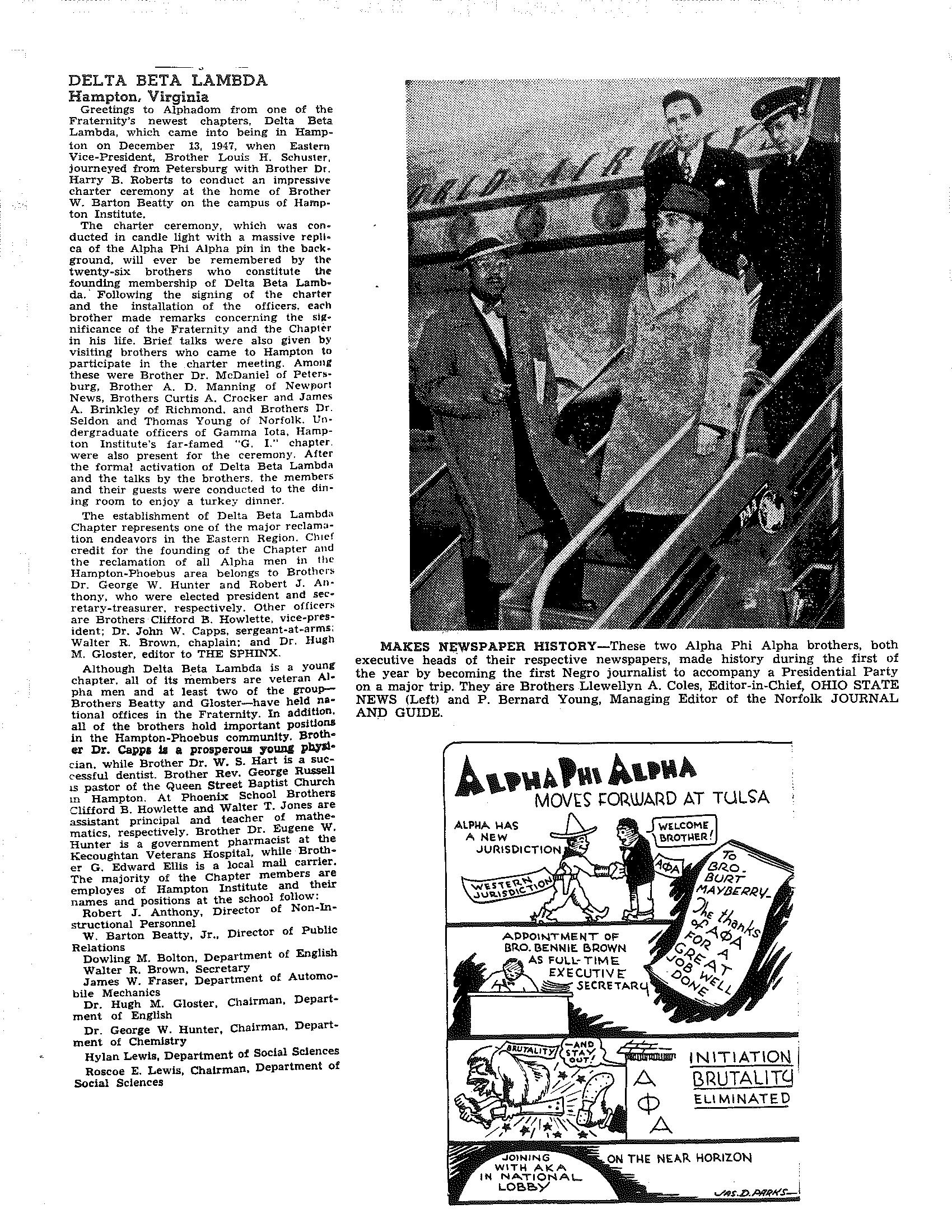 Zeta Lambda 1947 Newspaper Heads and DBL.png
