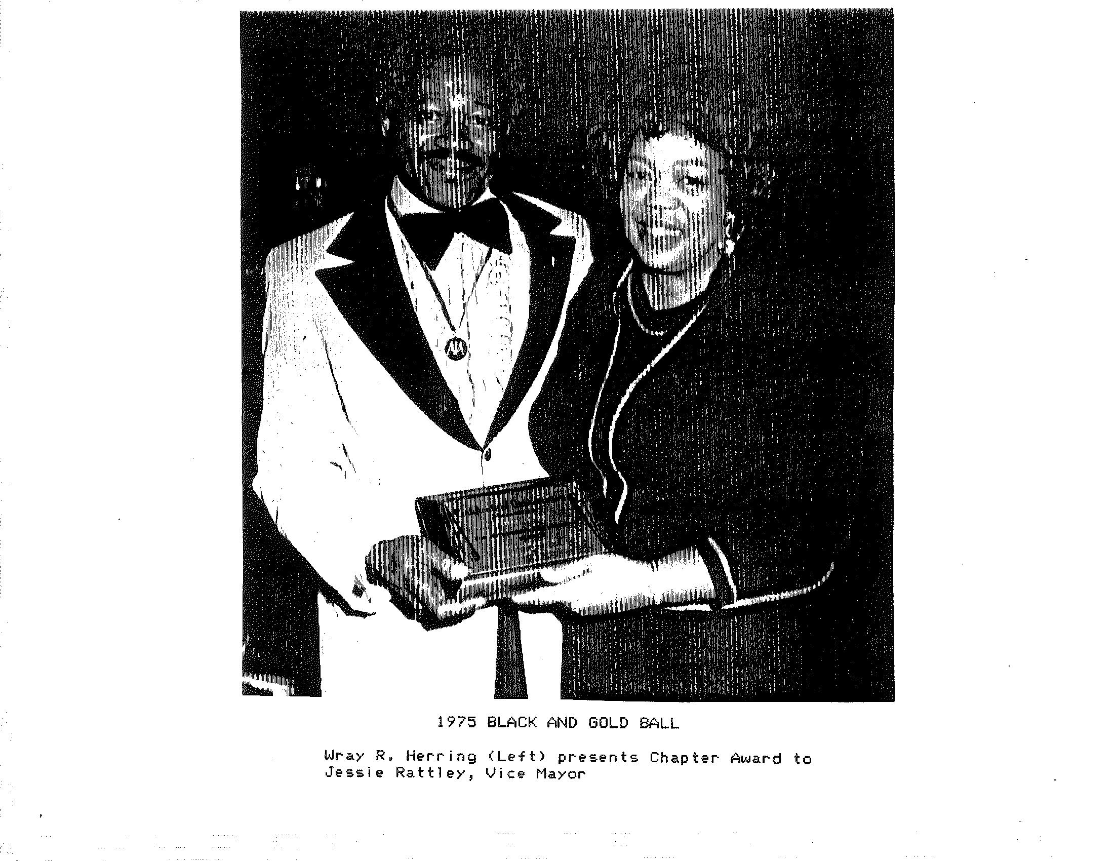 Zeta Lambda 1975 - Black and Gold Ball, Chapter Award to Vice Mayor Jessie Rattley.png