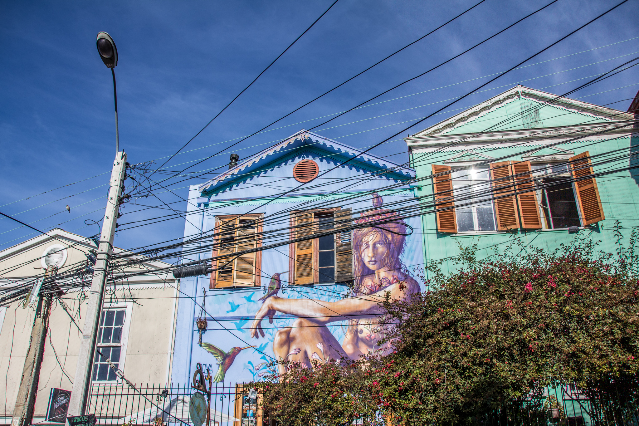 Valparaiso, Chile was the most fantastic place to find street art. They are so well known for it that they had souvenirs with various murals from the streets printed on them.