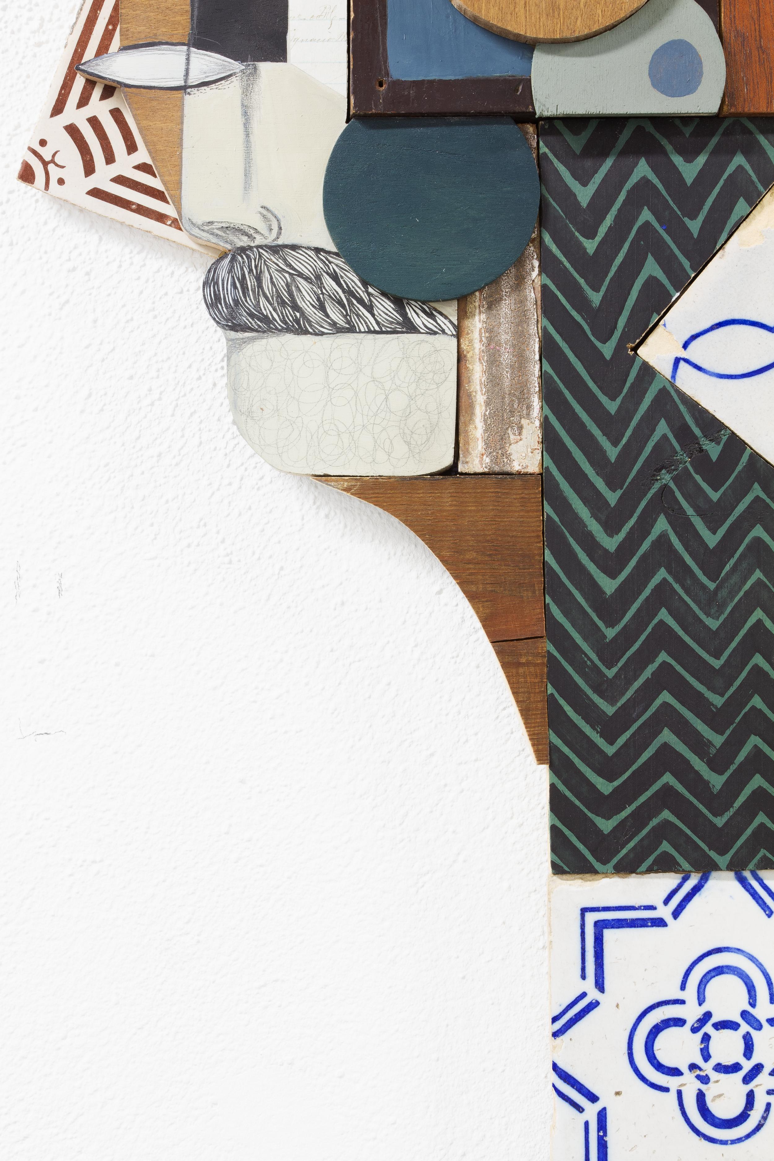 detail: antique paper, antique tiles and reclaimed wood assemblage | | image: Marcelo Duarte @graphosbrasil