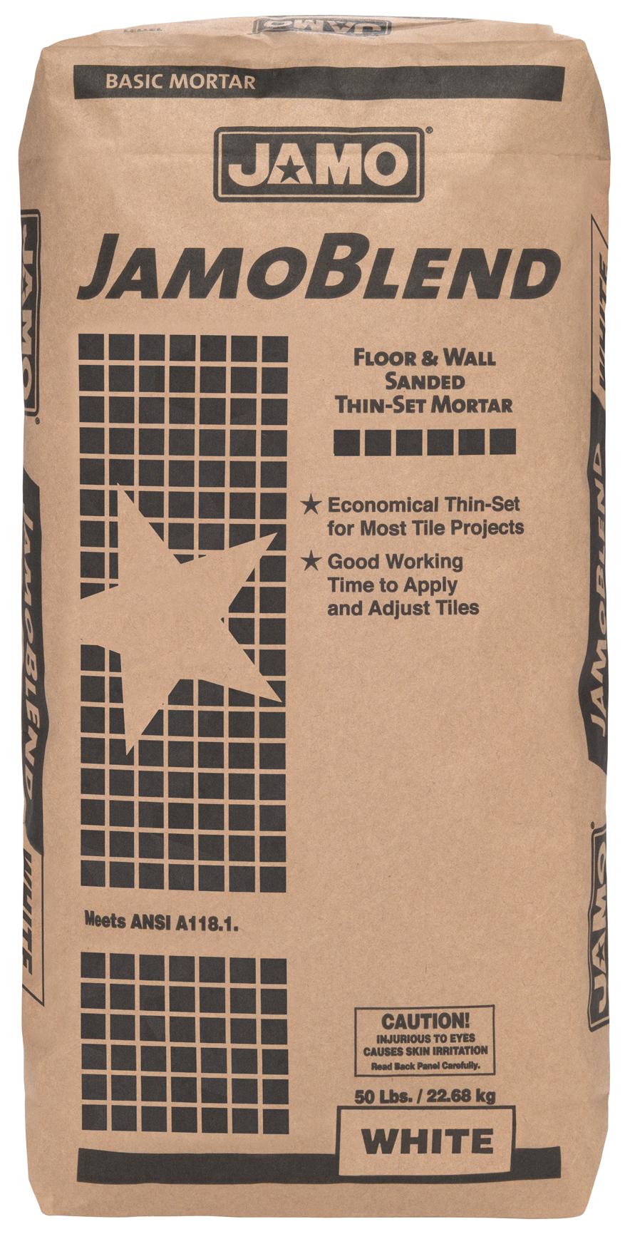 - El JAMO BLEND es un mortero económico de capa delgada con arena recomendado para realizar instalaciones de baldosas cerámicas de tamaños hasta 30cm x 30cm en pisos y paredes. Tiene un buen tiempo de trabajo que permite instalar y ajustar las baldosas.
