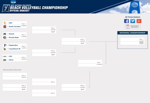 For a printable bracket, click here: NCAA Beach Volleyball Championship Bracket