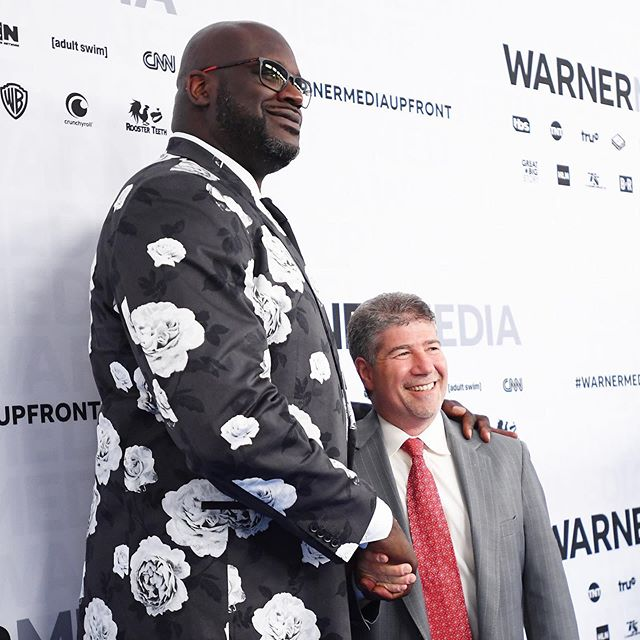 Just a couple of our colleagues at this morning's #warnermediaupfront  @SHAQ & Turner Sports President Lenny Daniels on the Blue Carpet