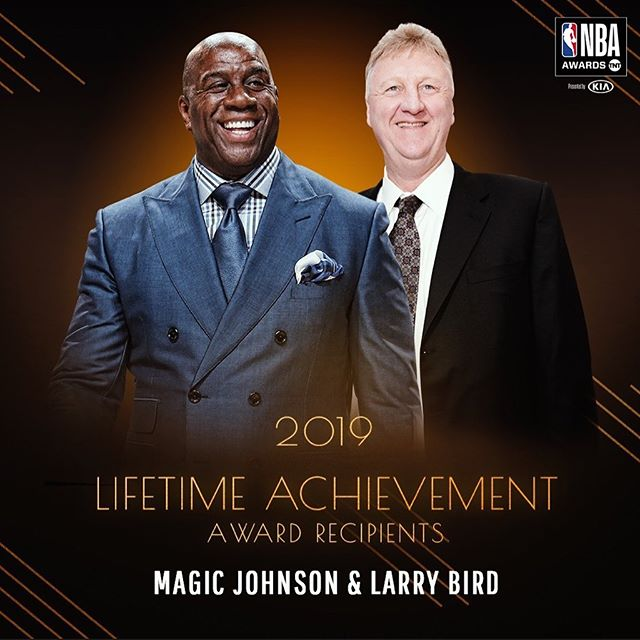 #News: Magic Johnson and Larry Bird will receive the Lifetime Achievement Award on June 24 at the 2019 NBA Awards presented by Kia.