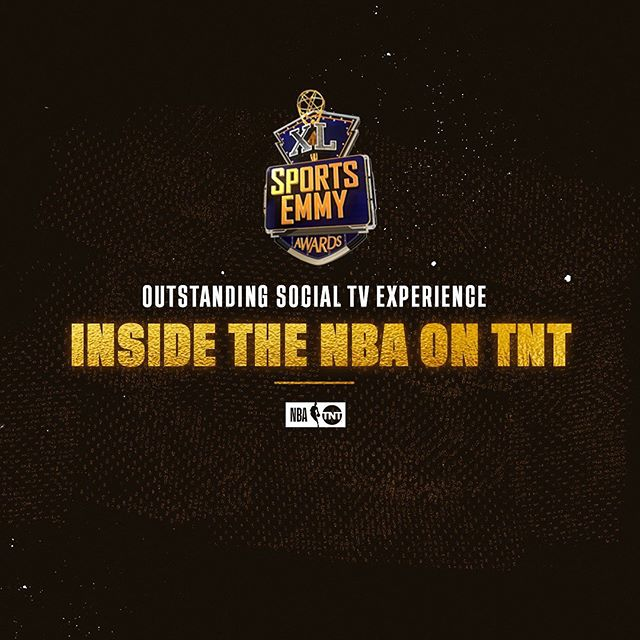 Major win tonight at the #SportsEmmys! Congrats to the @nbaontnt social team  for winning Outstanding Social TV Experience: Inside the NBA on TNT. 🏆🏆