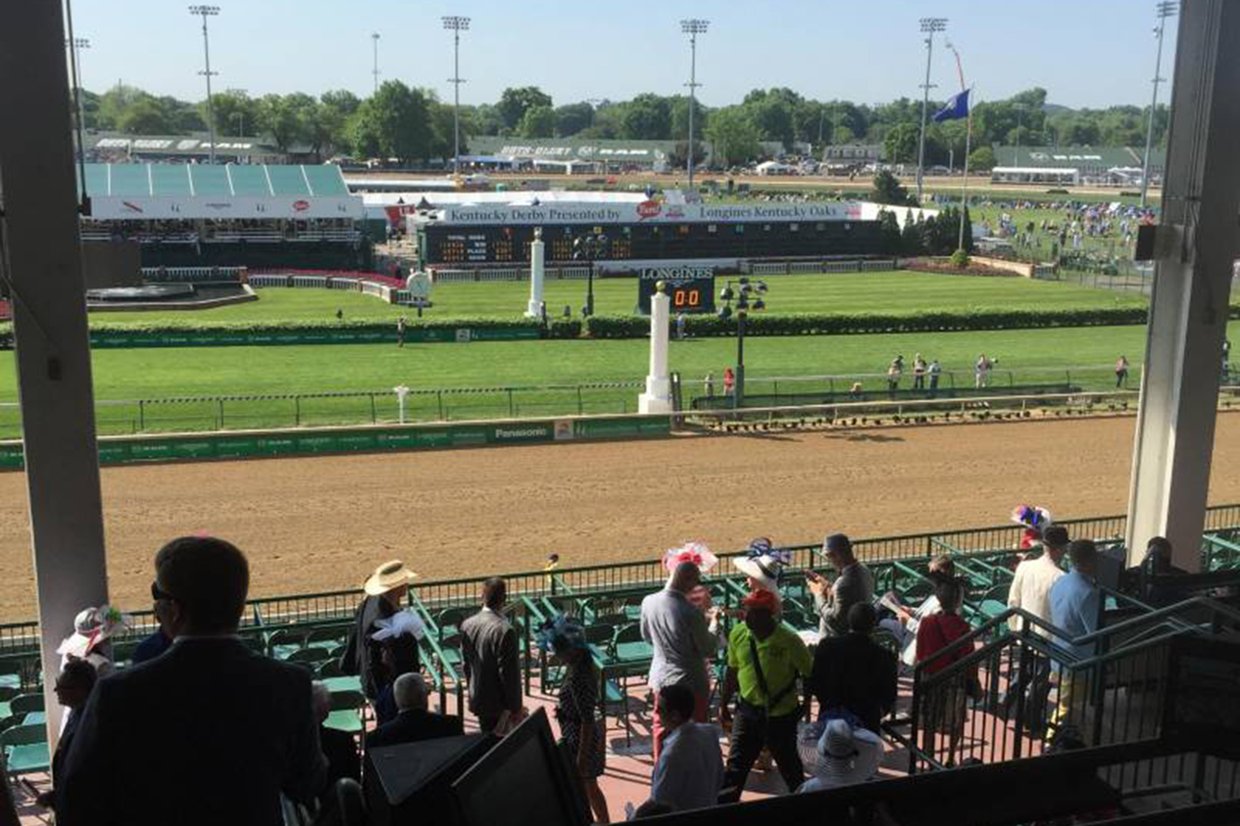 view of the finish line from the 3rd floor clubhouse