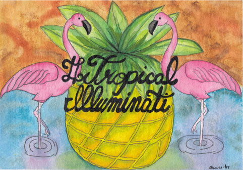 #TropicalIlluminait in Watercolour ~ July 2017, painting by Samantha Reeves