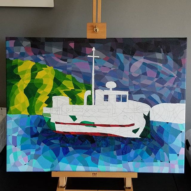 Now that I've gone back to school part-time, I don't have much time anymore to work on my art, but yesterday I did find a few hours.  I finally got the sky finished and started on the boat.  Slowly coming along. . . . . #painting #paint #acrylic #acryliconcanvas #acrylicpainting #paintingisfun #art #arty #artist #artistoninstagram #dowager #abstract #abstractart #abstractpainting