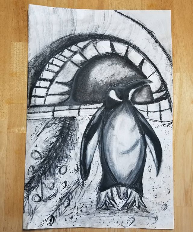 Today's classwork.  I had to put a simple collage together, then draw it out using charcoal, conte and water.  I think it turned out pretty well. #artclass #class #art #drawing #drawingclass #learningtodraw #penguin #penguinart #charcoaldrawing #charcoal #arty #artist #artistoninstagram